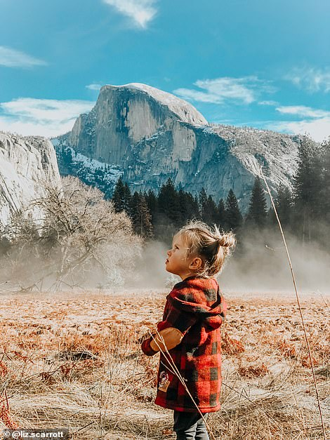 Liz Scarrott used her iPhone to take a photo of her daughter while travelling through Yosemite National Park in California