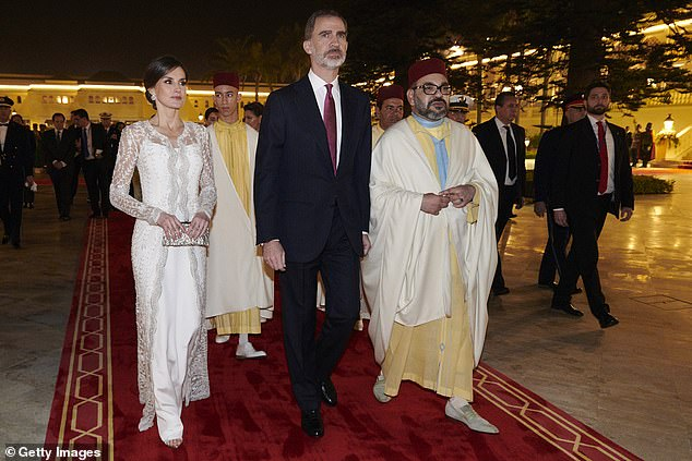 King Felipe and Queen Letizia of Spain were greeted by King Mohammed VI of Morocco at the Royal Palace in Rabat to mark the occasion of their own royal tour earlier this month