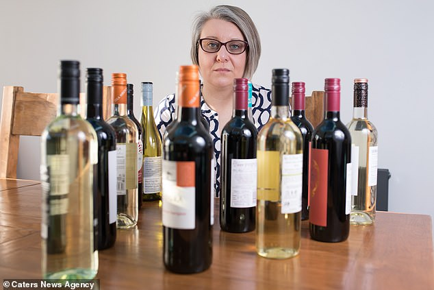 Emma Hawksworth (pictured) would get through up to 15 bottles of wine a week to self-medicate the agony of her vaginal mesh, which was fitted to help her internal prolapses