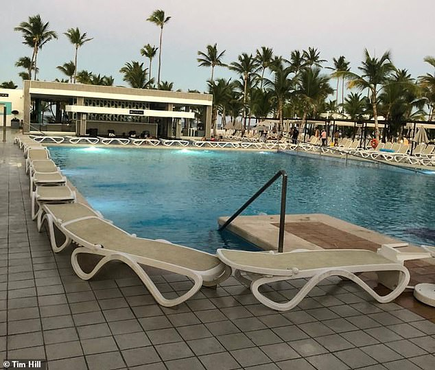 The pool at theRiu Bambu hotel in Punta Cana, Dominican Republic where the Hill family stayed over Christmas. They said that the pool area was dirty and littered with cigarette ends