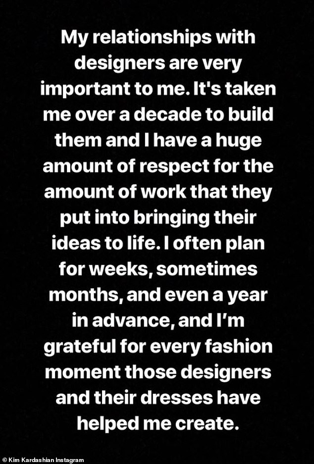 Relationships: 'My relationship with designers is very important to me. I have been overwhelmed over the past ten years to build them and I very much appreciate the amount of work they have put into bringing their ideas to life.