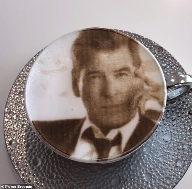 Fun: In a short clip shared to his Instagram, the actor ploughed his spoon through his 007 coffee etching before the camera panned to him to show his enthusiastic reaction