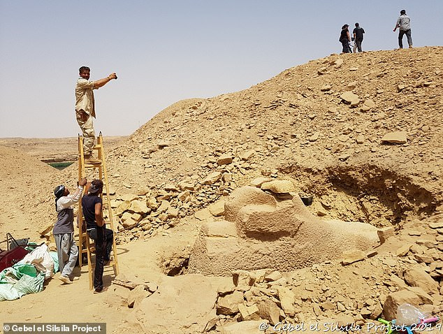 Archaeologists have discovered the 3,000-year-old remains of an Egyptian carving workshop containing several unfinished sculptures, including a ram-headed sphinx chiseled from sandstone.