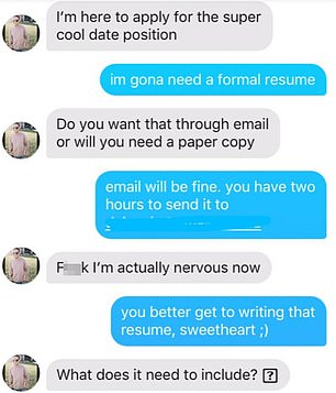 Hilarious:She said the résumé was for the chance for him to go to her sister's wedding, and Nate complied by sending one to her email
