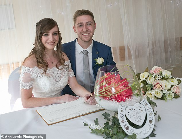 Katie Watkins and her husband Luke, from South Wales, spent just £8,200 on their wedding - a saving of nearly £20,000 on the UK average of £27,161