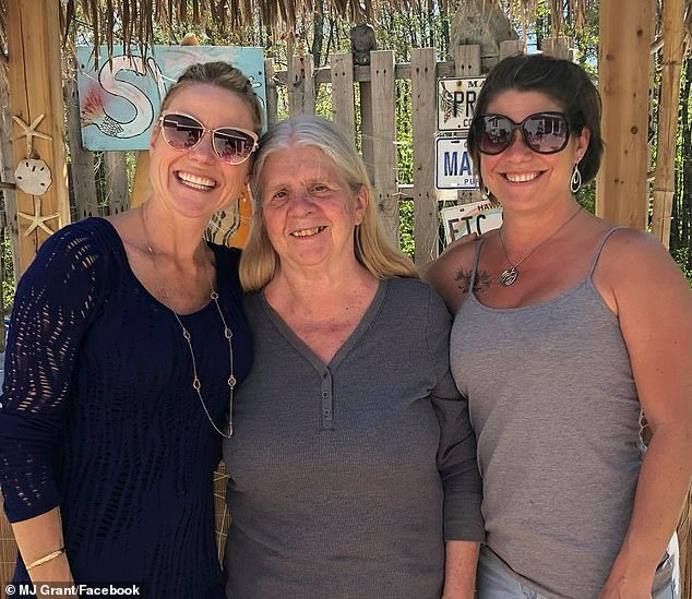 Family: Carmen, pictured with MJ (left) and her other daughter Louann Grant (right) now lives with MJ and her family in their home inSanford, Maine