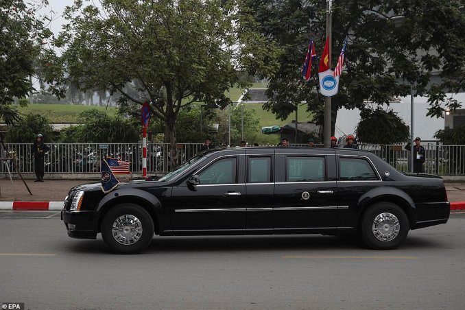 Trump's motorcade leaves the J.W. Marriot hotel during the second US-North Korea summit