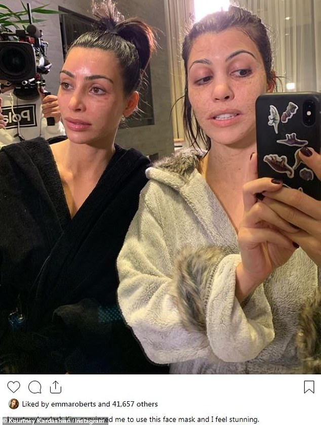 'I feel stunning': Kim Kardashian and Kourtney Kardashianwere unrecognizable in face masks, heightening the effect by pulling faces for a selfie Kourtney posted to Instagram Wednesday