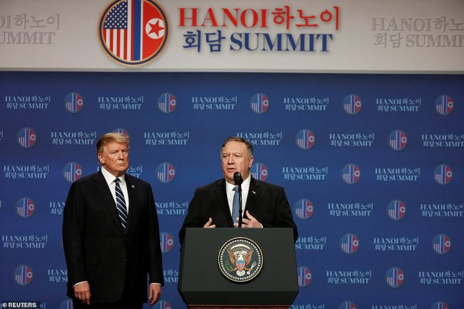 Secretary of State Mike Pompeo added that his team had been working with North Korea 'for weeks' to try and achieve a deal and that Trump and Kim made more progress towards a deal, but 'we didn't get all the way'