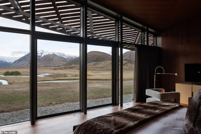 There are two spacious master suites and three lodge suites at the chic inn, with all rooms looking out towards the rolling valley beyond