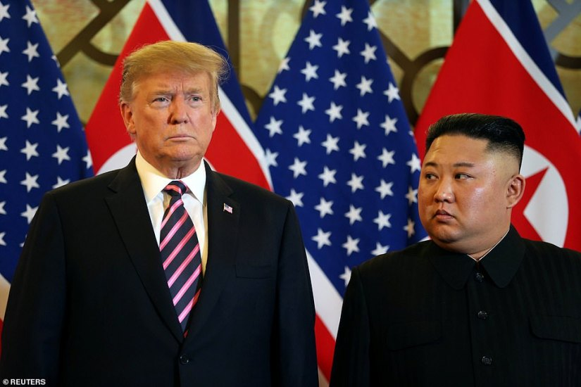 Trump and Kim dinedalong with top aides.  Trump said the meal would be a 'pretty quick dinner'