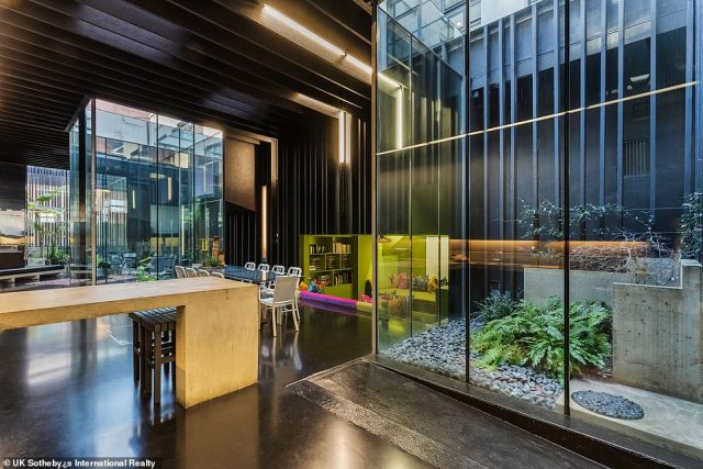 Lost House, close to London's King's Cross Station, is largely hidden from view but boasts a 60ft long living area, complete with a futuristic-looking kitchen and dining room, two indoor gardens and a sunken seating space with its own cinema