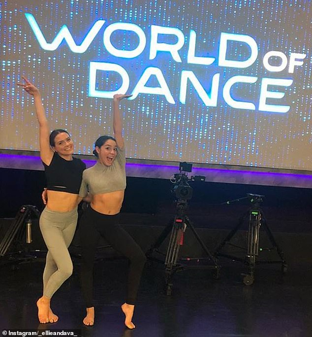 Back stage: Pictured on the set of World of Dance, impressive dancing duo Ellie and Ava specialize in contemporary dance