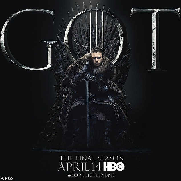 Double take: The poster depicting Jon (Kit Harington) sat on the Iron Throne undeniably had echoes of the season one image of the late Ned Stark (Sean Bean) on the seat