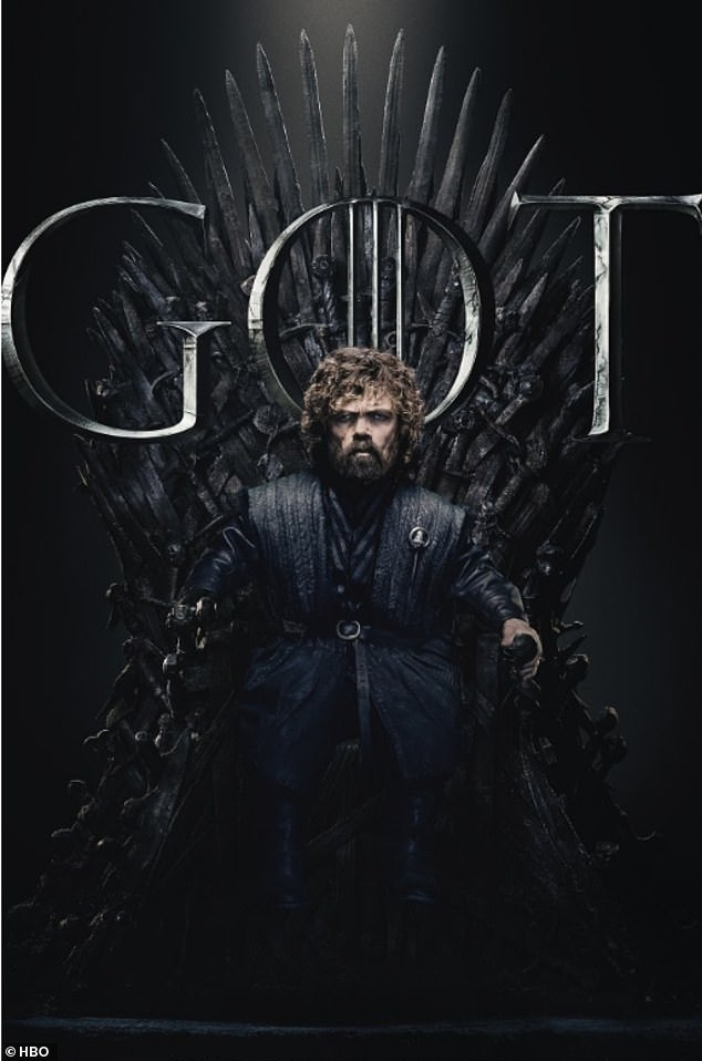 Eagle-eyed: Hardcore fans were quick to notice Tyrion (Peter Dinklage) posed on the Iron Throne without his right hand