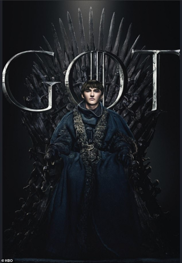 Unlikely hero: Bran Stark, who has survived the gruelling game thanks to his supernatural gifts, sat comfortably in the throne while he donned a plush cloak and animal furs