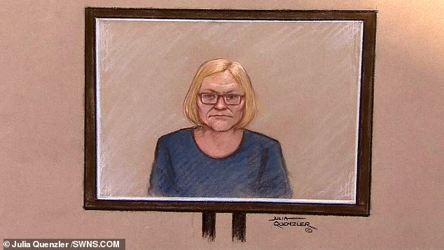 Sally Challen, 61, appears via video link to appeal against her 18-year sentence for killing her husband in 2010 at the Court of Appeal today