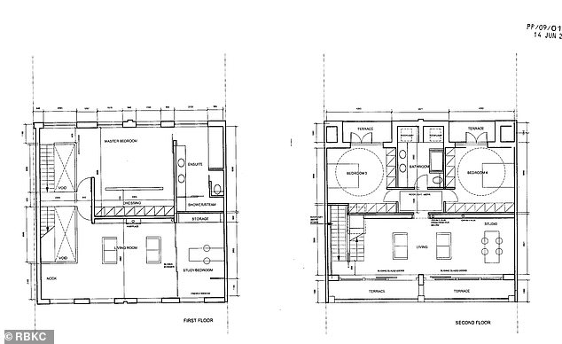 Pictured are the floor plans for the four-storey townhouse in Chelsea, which reveal a cinema and gym in the basement