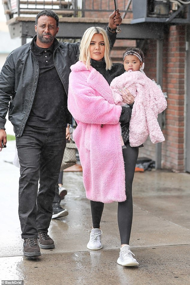Difficult: Khloe Kardashian kept close to daughter True when the duo grabbed lunch in Calabasas, California, just hours after she had tweeted that Tristan Thompson was blamed for the guilty accusations and subsequent downfall of their relationship