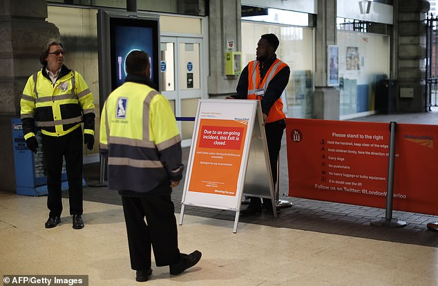 Security staff put up a sign on Tuesday afternoon saying that one of the exits to Waterloo station was closed amid the security alert