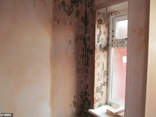 John Miller swindled eight clients out of £220,000 for dodgy work on their homes (pictured above and unfinished room with damp near the window)