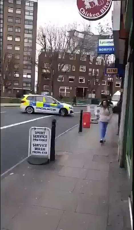 The scene in West Kensington yesterday afternoon