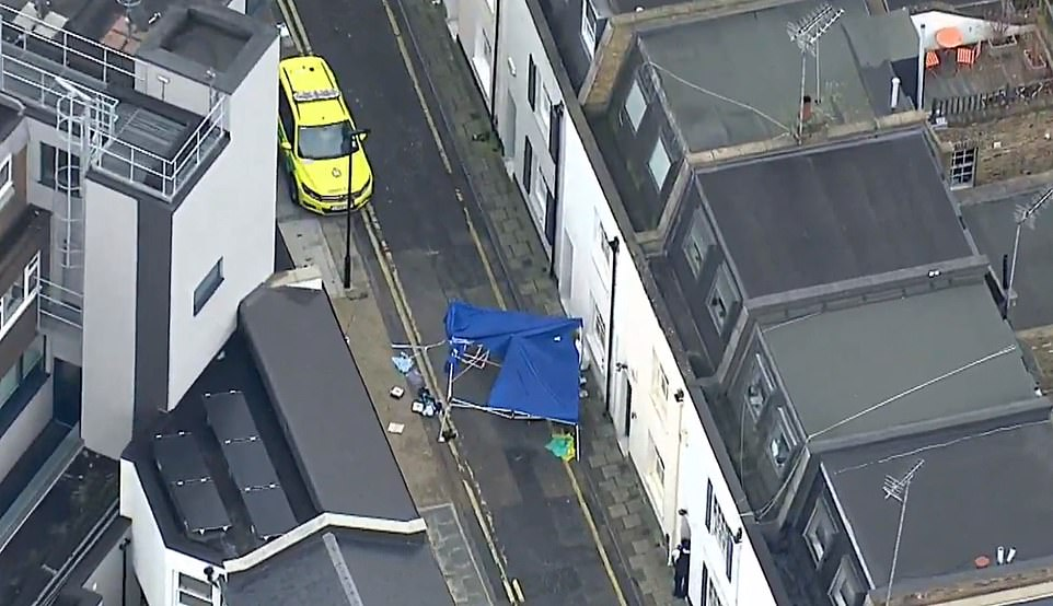 An aerial view of the area in West Kensington where Mr Hassan died shortly after 2pm