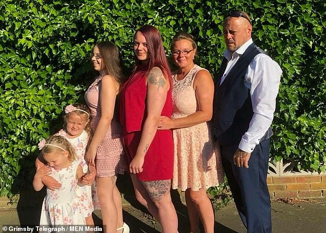 Sudden death: Jayne Peacock, in the second picture on the right, with his devoted family