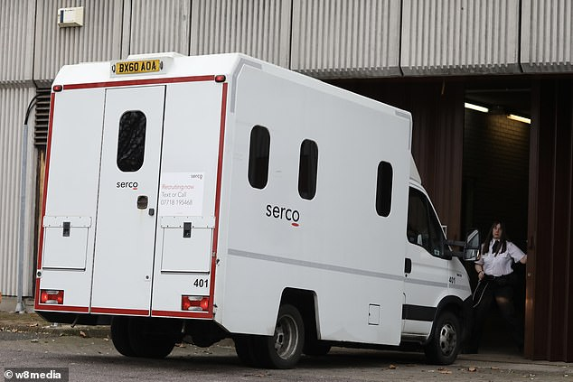 A prison van arriving at Barkingside Magistrates' Court this morning - believed to be carrying Petrovic