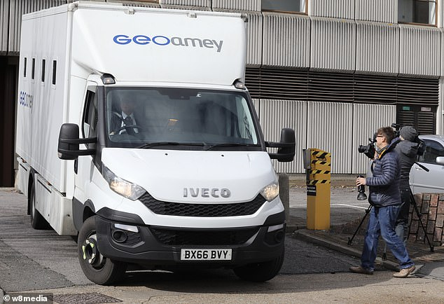A prison van was pictured leaving Barkingside Magistrates' Court today following the appearance of Manuel Petrovic