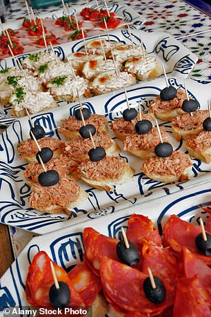 Some of thepintxos (toothpick food) that costs from as little as 80p a plate in Biarritz
