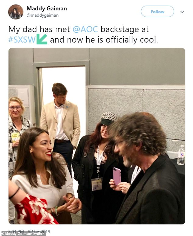 Neil Gaiman spoke in the same room before Ocasio-Cortez and his daughter tweeted about the two meeting