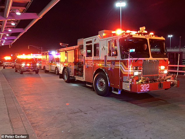 Several FDNY vehicles were seen outside the airport terminal as the wounded were treated