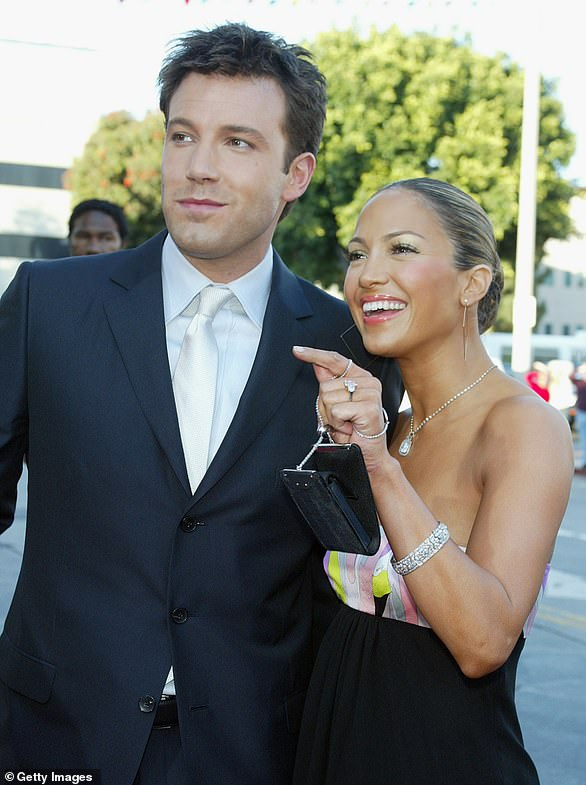 Media sensation: Ben proposed to Jennifer in November 2002, and media outlets began to refer to the couple as 'Bennifer,' launching the era of celebrity couple nicknames (pictured in 2003)