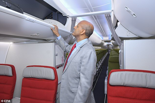 Ethiopian Airlines Group CEO Tewolde GebreMariam inspects the newly-arrived Boeing 737 Max 8 months before the crash