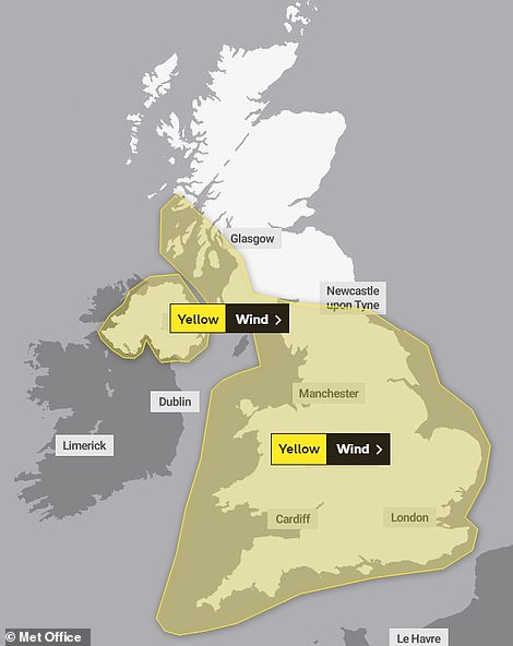 A Met Office graphic shows weather warnings in place for the UK today