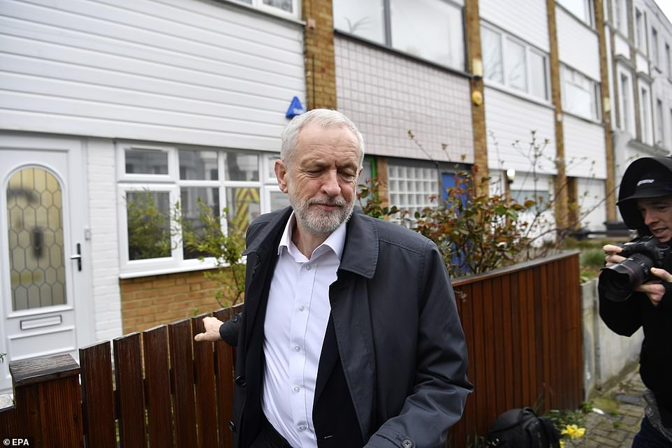 Jeremy Corbyn (pictured today) has told his MPs to reject Mrs May's deal but a number are ready to defy him and side with the Prime Minister