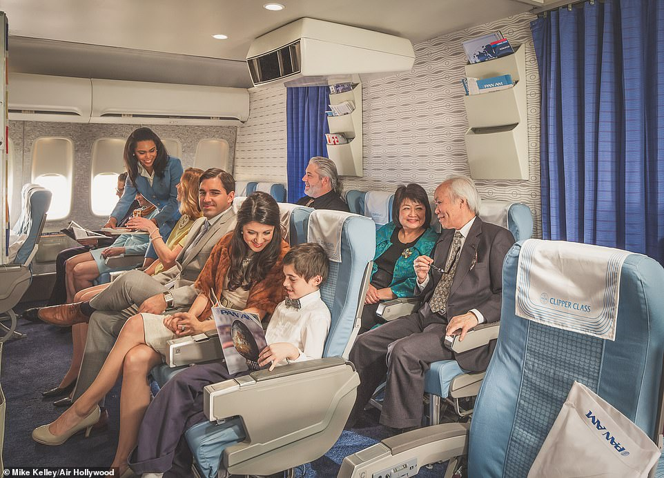 Inside the clipper cabin where guests can relax on business class seats before being served their five-course dinner