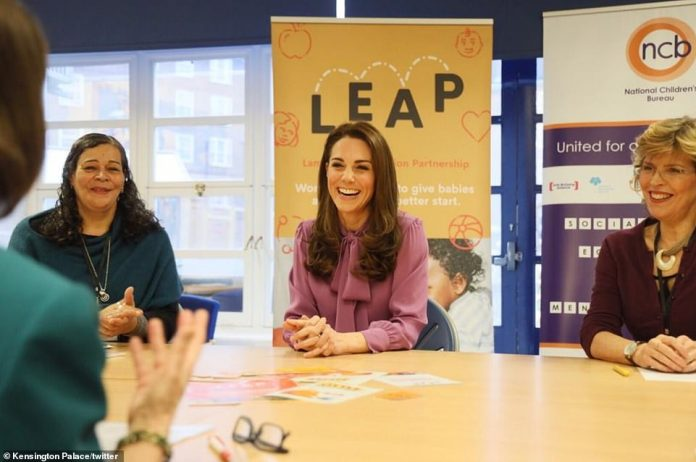 The Duchess of Cambridge shared a carefree time with the staff of the center as she learned more about their services