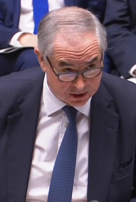 Attorney General Geoffrey Cox pictured in the Commons as he delivered his legal advice on Mrs May's Brexit deal