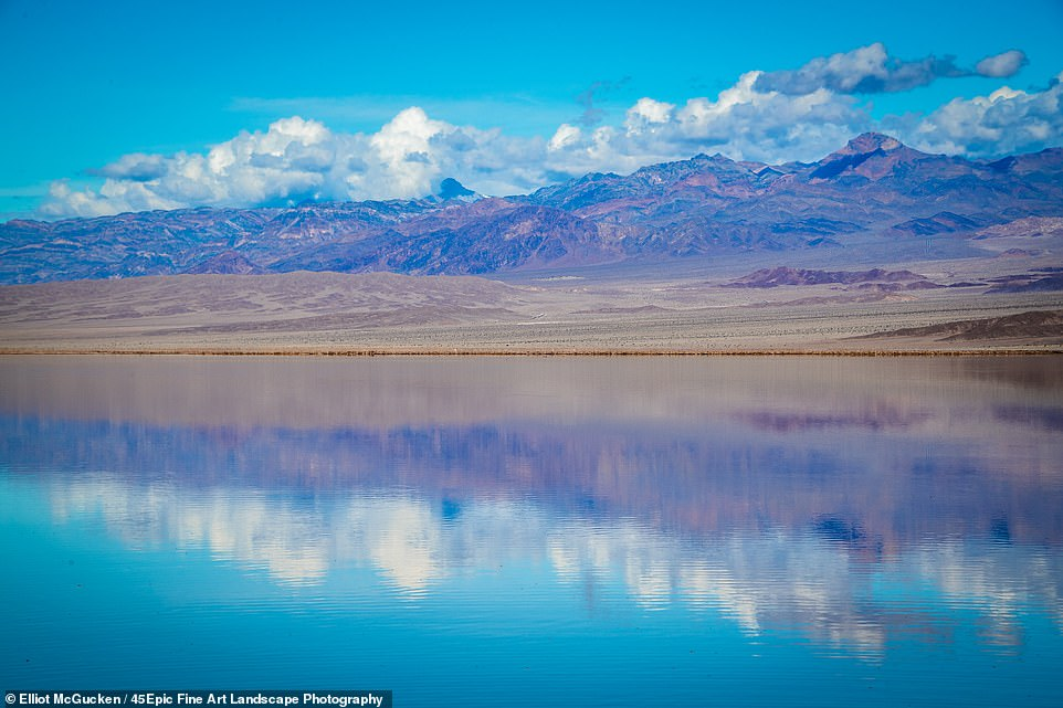The rainfall and mountain run off led to the formation of the serene lake in the desert