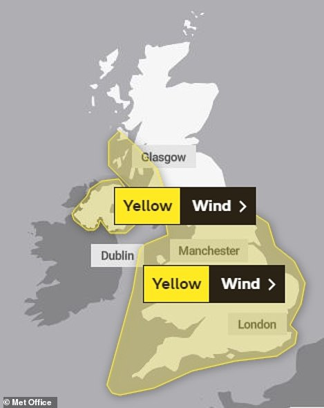 A Met Office graphic shows weather warnings in place for the UK tomorrow