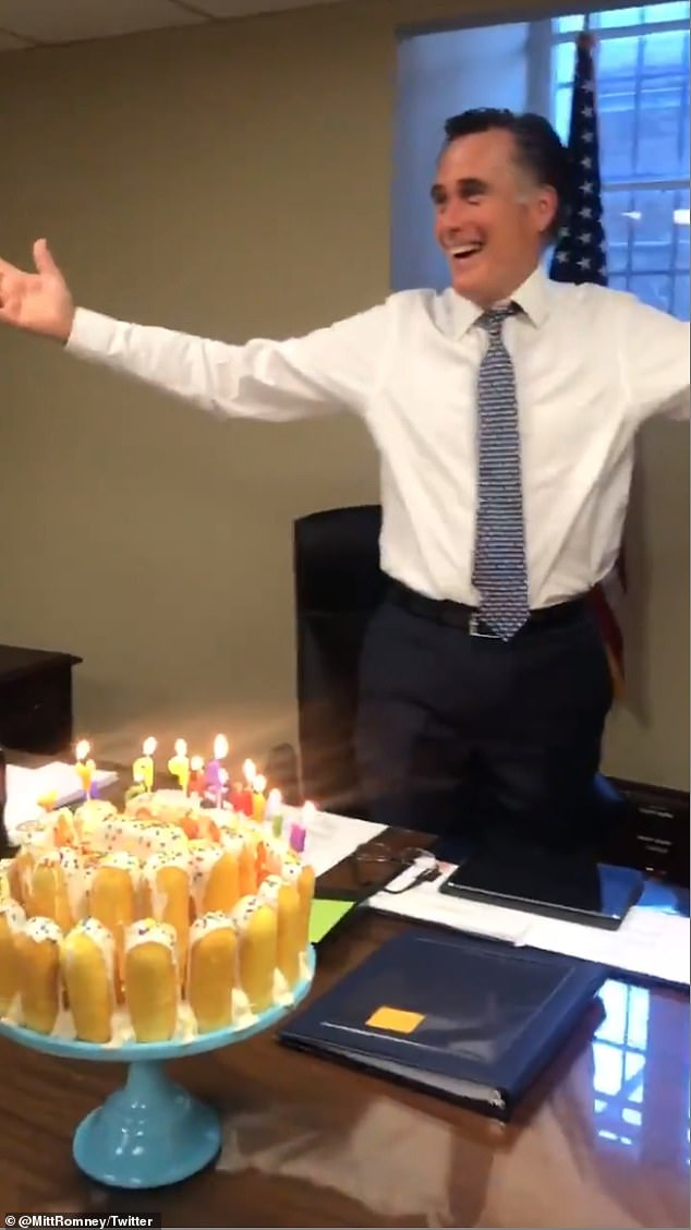 Mitt Romney Confuses Everyone With The Way He Blows Out His Candles On His Twinkie Birthday Cake Daily Mail Online