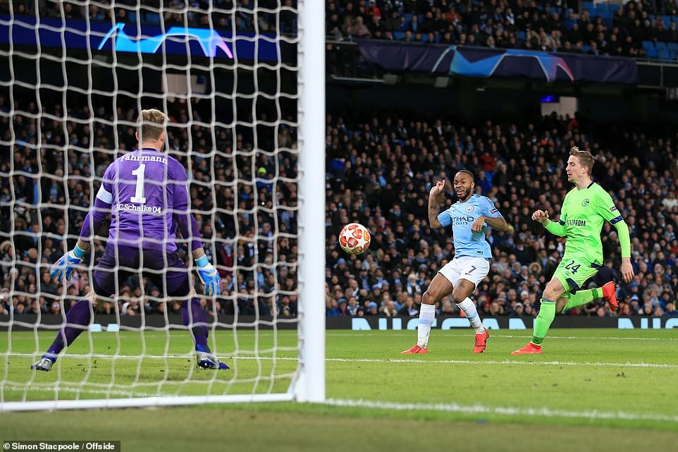 Raheem Sterling added City's fourth by popping up at the far post and latching on to a cross to finish