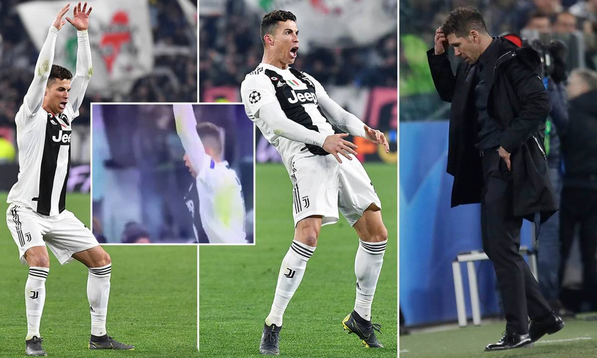 Image result for Cristiano Ronaldo goads Atletico Madrid by imitating Diego Simeone's 'cojones' celebration after scoring hat-trick to seal emphatic Juventus comeback and quarter-final place