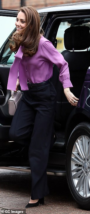 The Duchess of Cambridge appeared in excellent spirits as she arrived for the engagement this morning, pictured