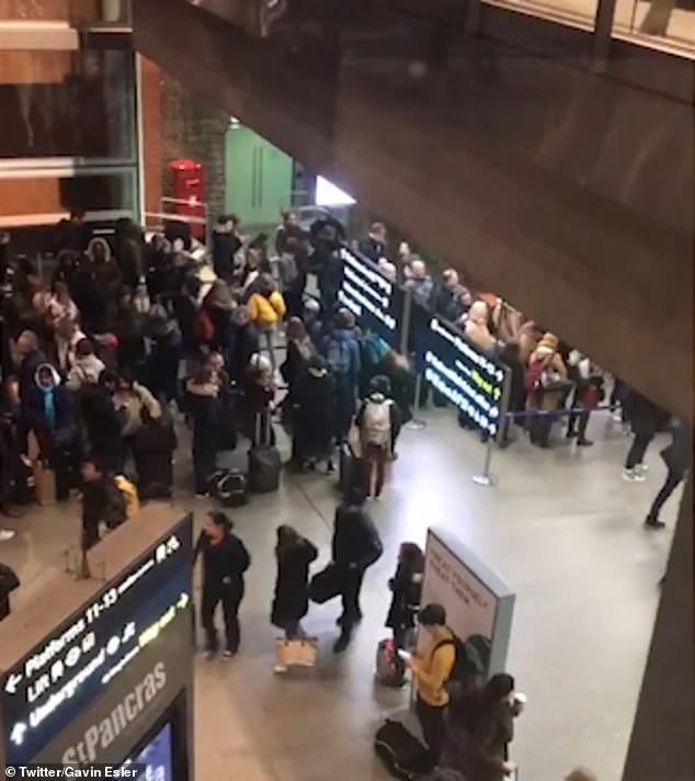 This image shows queues at London St Pancras International on Sunday night caused by striking customs officials on the other side of the Channel