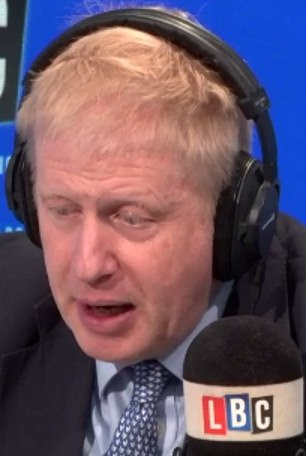 Mr Johnson appearing on LBC