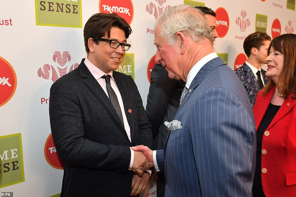 Good to see you: The Prince shook hands with Michael McIntyre at the awards