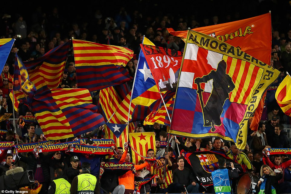 Almost 100,000 supporters were at the Nou Camp where thousands of scarves and flags were held up prior to kick-off